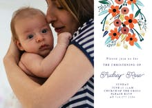Orange Floral - Baptism & Christening Invitation