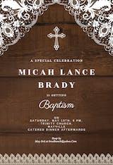 Rustic Lace - Baptism & Christening Invitation