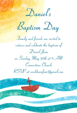 Sea of Happiness - Printable Baptism & Christening Invitation Template