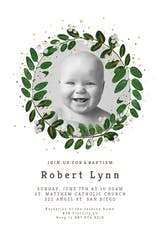 White Bloom - Baptism & Christening Invitation