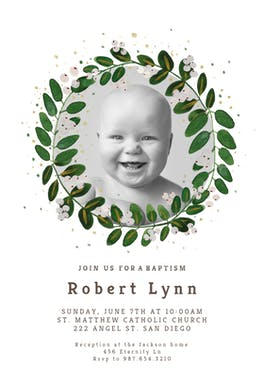 White Bloom - Baptism & Christening Invitation