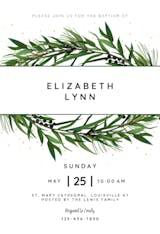 Winter Wreath - Baptism & Christening Invitation