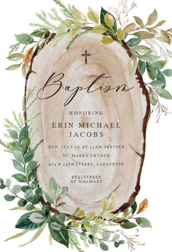 Personalised Christening Invitations WOOD SLICE RUSTIC GIRL OR BOY PACKS OF 10