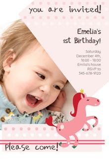 1st birthday invitation templates free greetings island 1st confetti prancing pony birthday invitation filmwisefo