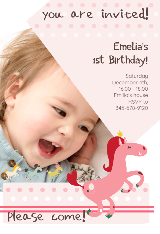 Prancing Pony   Birthday Invitation Template  First Birthday Invitations Templates