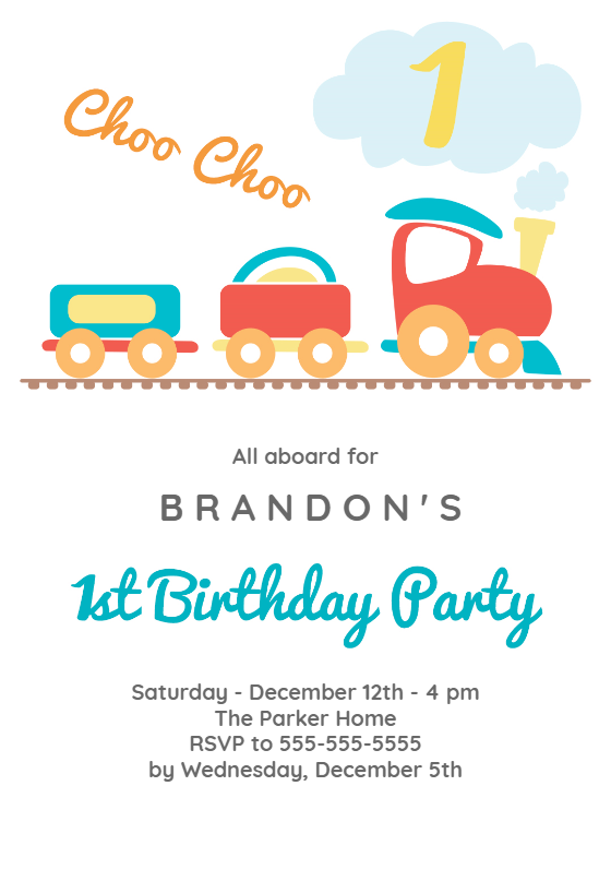 1st Birthday Train Free Birthday Invitation Template Greetings