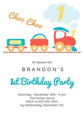 1st Birthday Train - Birthday Invitation Template