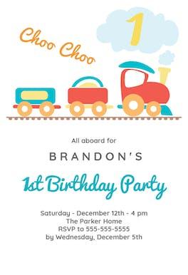 1st Birthday Train - Birthday Invitation