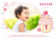 1st Cupcake - Birthday Invitation