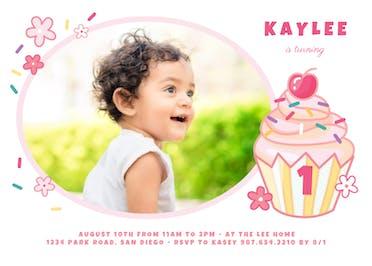 1st Cupcake - Birthday Invitation