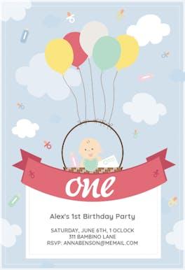 Balloon Basket - Birthday Invitation
