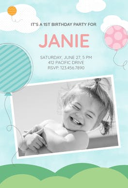 Cloud 9 First Birthday - Birthday Invitation Template