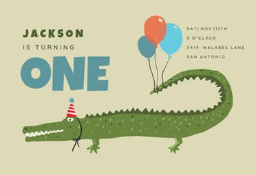 Crocodile - Birthday Invitation