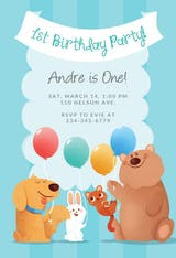 Furry Friends - Birthday Invitation