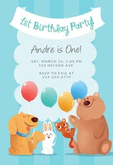 Furry Friends - Birthday Invitation Template