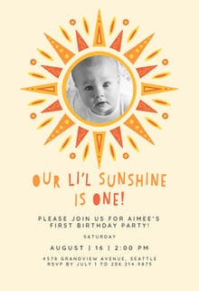 Little sunshine bday - Birthday Invitation