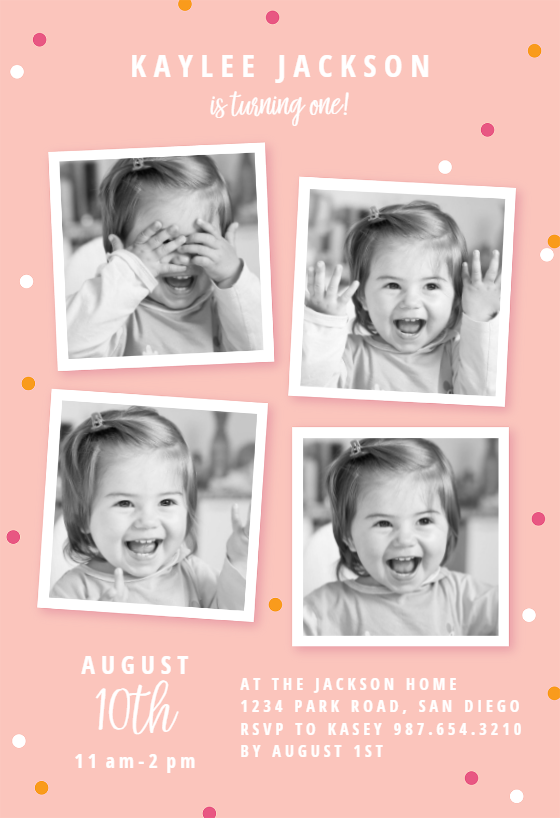 invitation layout for 1st birthday