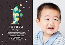 One year balloons - Invitación de Cumpleaños