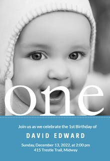 One Year Photo - Birthday Invitation