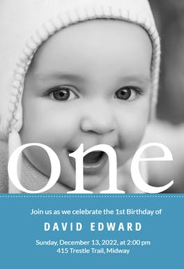 One Year Photo - Birthday Invitation Template
