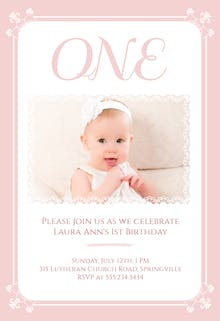 Pink and Lacy - Birthday Invitation
