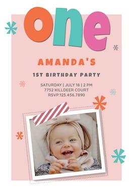 Pink Confetti Cascade - Birthday Invitation