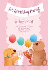 Pink Furry Friends - Birthday Invitation