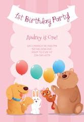 Pink Furry Friends - Birthday Invitation Template