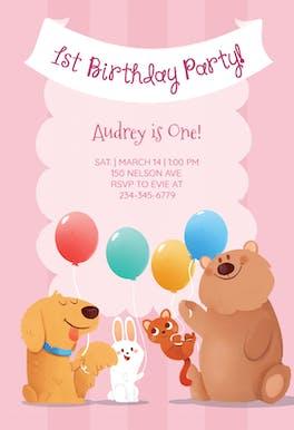 Pink Furry Friends - Birthday Invitation
