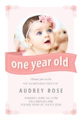 Pink Ribbon - Birthday Invitation Template