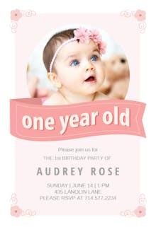 Pink Ribbon - Invitación de Cumpleaños