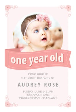 Free 1st birthday invitation templates greetings island pink ribbon birthday invitation filmwisefo Images