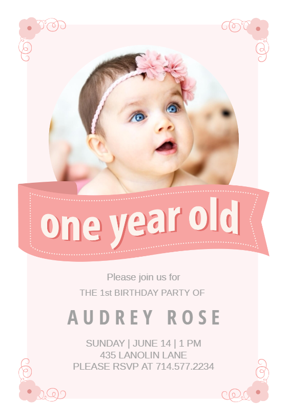 Pink Ribbon   Birthday Invitation Template  First Birthday Invitation Templates Free