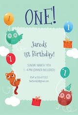 Playful Animals - Birthday Invitation
