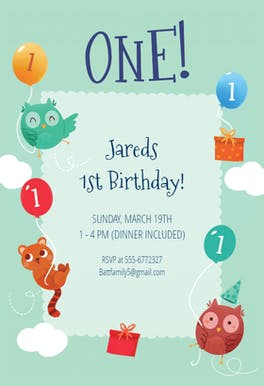 Playful Animals - Birthday Invitation