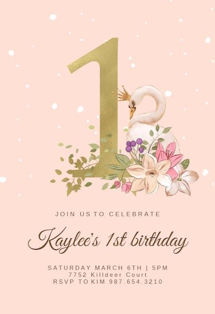 Invitaciones Para El Primer Cumpleaños Gratis Greetings Island