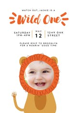 Lion Wild One - Birthday Invitation