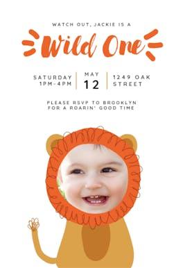 Lion Wild One - Birthday Invitation
