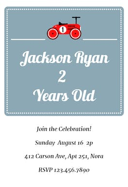 Vintage Car - Birthday Invitation