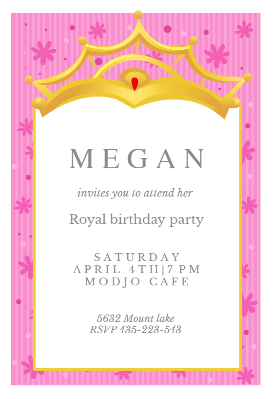 A Little Princess Free Birthday Invitation Template Greetings Island
