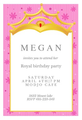 A Little Princess Free Birthday Invitation Template Greetings - Royal birthday invitation template