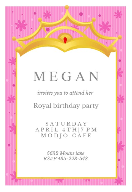 A Little Princess Birthday Invitation Template Free