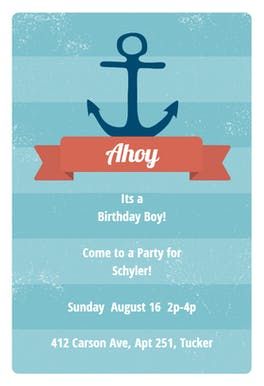 Anchor - Birthday Invitation