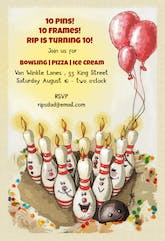 Bowling Strike Birthday - Birthday Invitation
