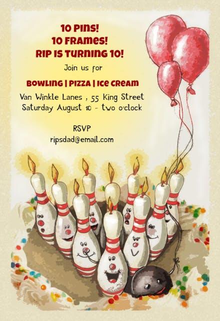 Bowling Strike Birthday Invitación De Cumpleaños Gratis