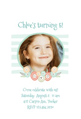 Button Flowers Party - Birthday Invitation Template