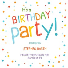Birthday invitation templates for kids free greetings island confetti dots border birthday invitation stopboris Image collections