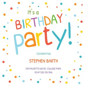 Confetti dots border free birthday invitation template greetings confetti dots border birthday invitation stopboris Choice Image