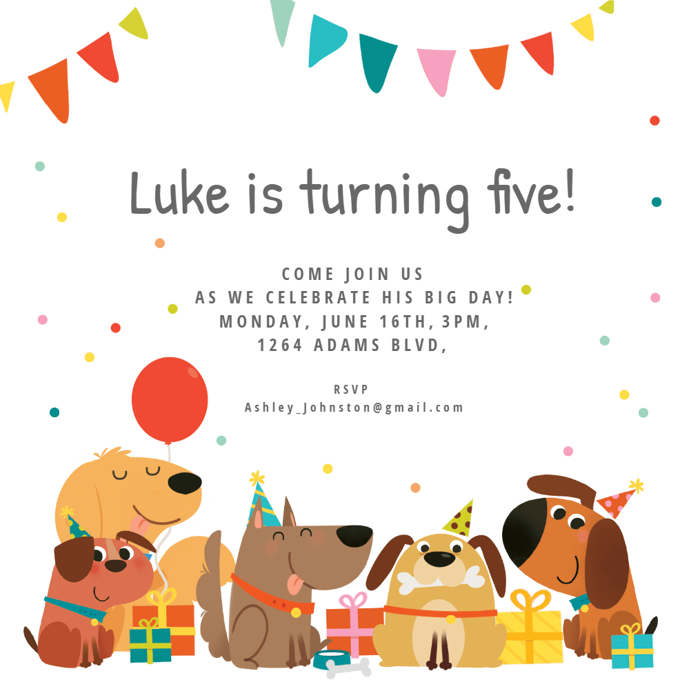 dog birthday invitation template  free
