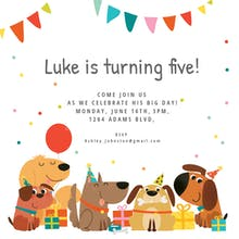 Free birthday invitation templates for kids greetings island delighted dogs birthday invitation stopboris Choice Image